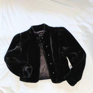 Borgessa Vintage Italian Black Faux Fur Coat